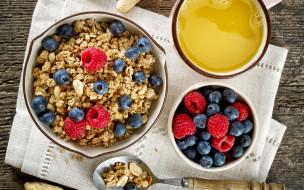 еда, мюсли,  хлопья, овсяные, хлопья, breakfast, сок, черника, завтрак, малина, ягоды
