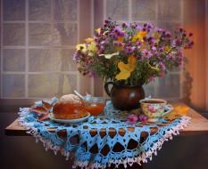еда, натюрморт, чай, абрикосовое, варенье, ноябрь, хризантемы, цветы, листья, осень