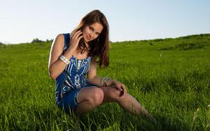 лето, взгляд, макияж, модель, поза, девушка, Diana, брюнетка, природа