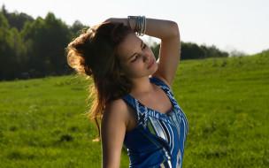 Diana, модель, макияж, природа, лето, брюнетка, девушка, поза, взгляд