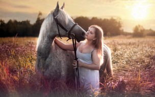 лето, девушка, конь