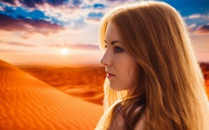 light, girl, bright, dune, mood, look, cute, wind, fantasy, summer, portrait, sight, epic, dream, outdoors