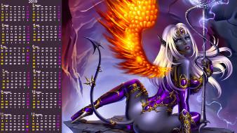 существо, женщина, крылья, хвост