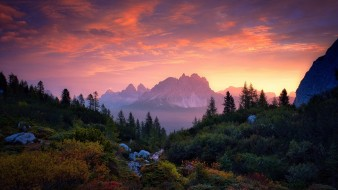 природа, пейзажи, небо, cadini, sebastian, warneke, горы, закат, деревья