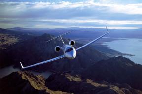 горы, самолет, g500, крылья, полет, река, gulfstream