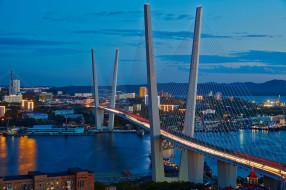 владивосток, города, - мосты, город, огни, ночь, мост