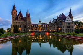 moszna castle, города, замки польши, простор