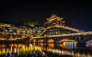 phoenix ancient town,  hunan,  china, города, - огни ночного города, простор