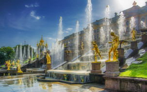 peterhof palace, города, санкт-петербург,  петергоф , россия, простор