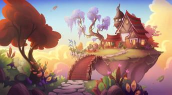 фэнтези, пейзажи, домик
