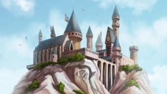 скала, замок, башни