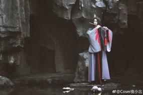 кимоно, скала, флейта, пещера, парень