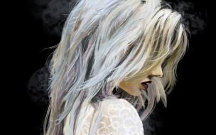 девушка, черный фон, профиль, губы, блондинка, арт, волосы