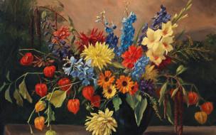 рисованное, живопись, camilla, gobl-wahl, натюрморт, с, осенними, цветами, холст, картина