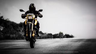 человек, шлем, дорога, мотоцикл