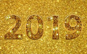 концепции, блеск, 2019 год, креативный, золотые цифры, c новым годом, праздники, золотой фон