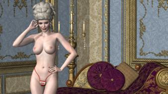 эро-графика, 3д-эротика, девушка, взгляд, фон, грудь