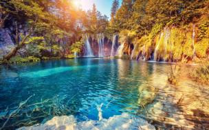 водопады, деревья, озеро, обрыв