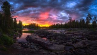 лес, закат, речка, Финляндия, Kuusamo