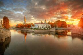 Санкт-Петербург, осень, небо, закат, мост, канал