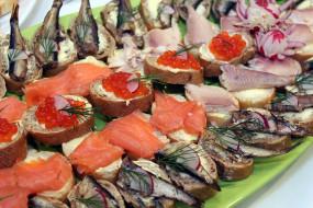 бутерброды, рыба, икра, еда