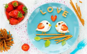 клубника, бутерброды, завтрак, breakfast, сладкие палочки, Valentines Day