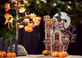 игрушечный, особняк, клен, ведьма, балкон, летучая мышь, тыквы, двор, серебристый, атмосфера, улитка, забор, листва, луна, сова