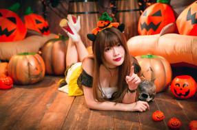девушка, череп, тыквы, Хеллоуин, азиатка
