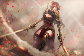 меч, девушка, фон, униформа