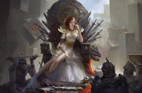 взгляд, скелеты, трон, арт, мечи, цепи, фэнтези, девушка, воины