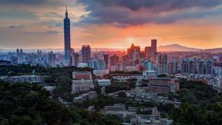 города, тайбэй , тайвань,  китай, горизонт, тайбэй, мегаполис, улицы, дымка, панорама, вечер, небоскребы, даль, дома, высота, башня, здания, вид, растительность, холмы, розовый, город, горы, закат, свет, деревья