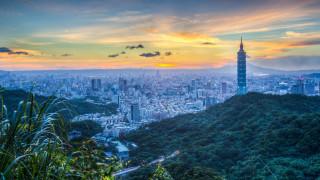 города, тайбэй , тайвань,  китай, рассвет, город, дымка, тайбэй, горы, облака, мегаполис, панорама, холм, горизонт, склон, желтые, утро, небоскребы, туман, высота, башня, здания, вид, растительность, холмы, голубой