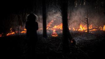 тыква, Хэллоуин, огонь, девушка, Halloween, ночь