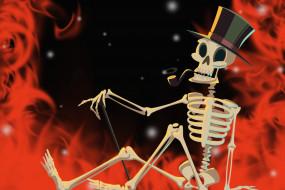 скелет, хэллоуин, helloween, огонь