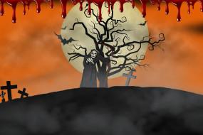 хэллоуин, смерть, крест, фон, кровь