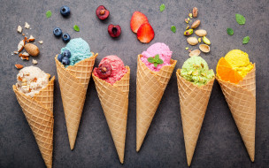 орехи, мороженое, cone, berries, fruit, рожок, ice cream, фрукты, ягоды, colorful