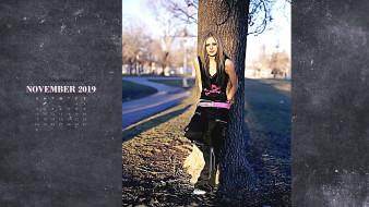 дорога, певица, дерево, взгляд, девушка