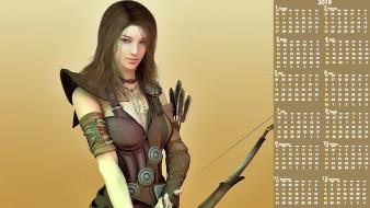 девушка, стрелы, взгляд, лук