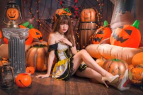 тыквы, азиатка, милашка, Хеллоуин, девушка