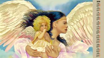 ангел, женщина, крылья, ребенок
