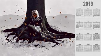 дерево, листья, девушка