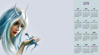 девушка, лицо, существо, дракон, рога, взгляд