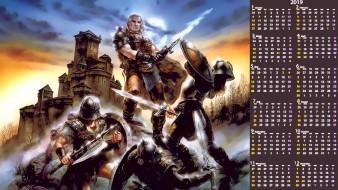 сражение, воин, оружие, мужчина, замок, щит