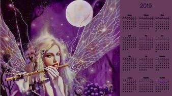лицо, луна, флейта, крылья, девушка