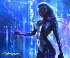 девушка, игра, арт, киборг, Cyberpunk 2077