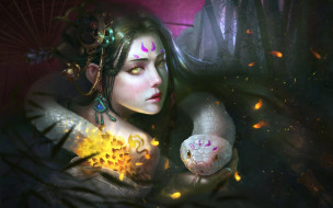 девушка, взгляд, лицо, цвет, змея, зонт, фэнтези, арт, желтые глаза