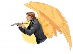 ангел, мужчина, крылья, музыка