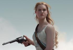 девушка, взгляд, револьвер, Оружие