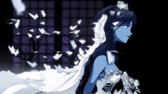 цветы, бабочки, белое, платье, арт, профиль, фата, свадебное платье, ребра, Corpse Bride, труп невесты