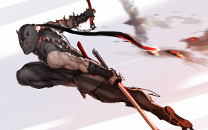 оружие, Ninja, ниндзя, нападение, арт, маска